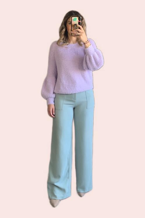 Sweater mangas puffy lila