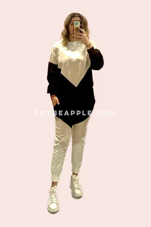 Set pants sudadera y pantalón color block