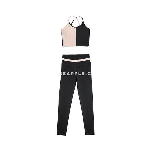 Set top y leggins color block baby pink y gris