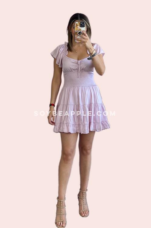 Vestido corto satín baby pink
