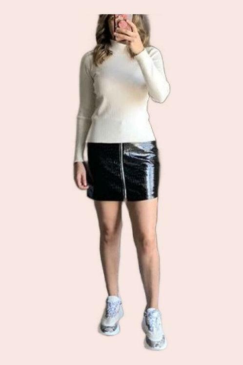 Mini falda cierre tipo piel cocodrilo