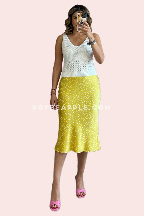 Falda satín amarilla con print