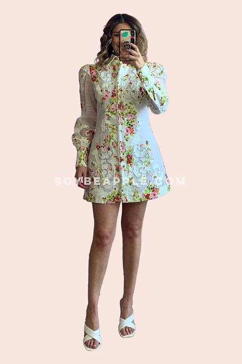 Vestido corto manga larga flores