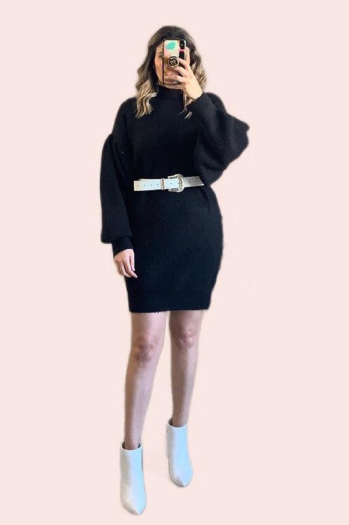 Sweater dress negro