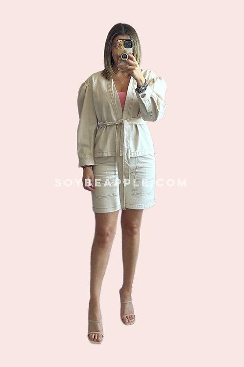 Set jacket y bermuda mezclilla ivory