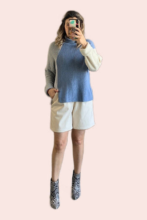Sweater color block azul