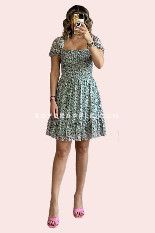 Vestido corto print flores verde