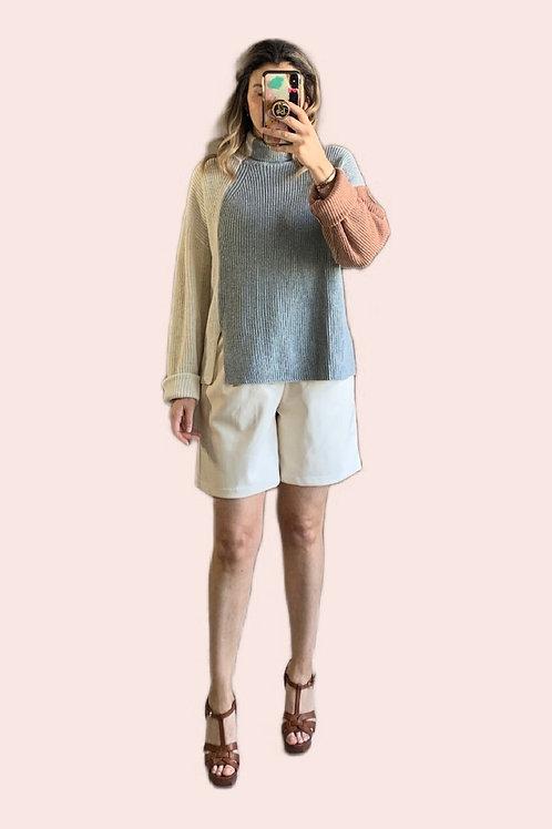 Sweater color block camel