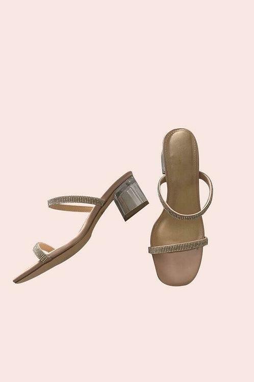 Zapatos dos tiras brillantes, tacón transparente