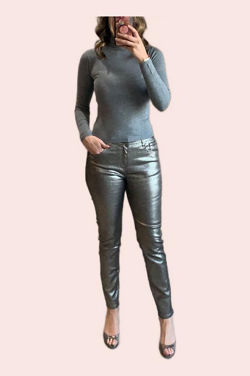 Pantalón print snake metálico