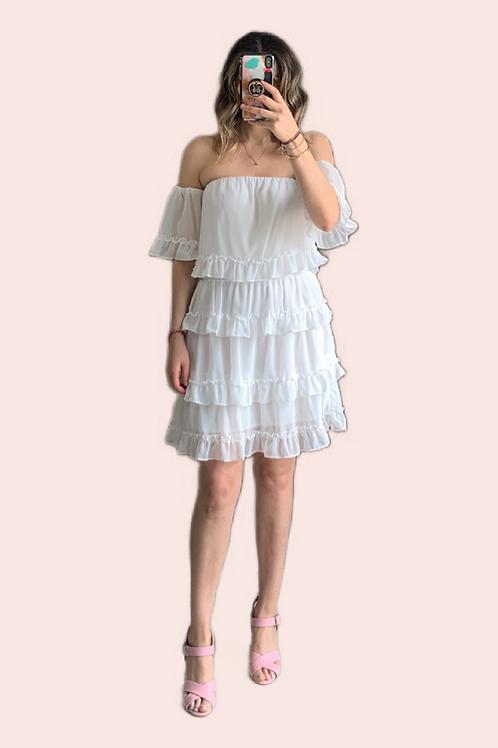 Vestido corto off falda olanes