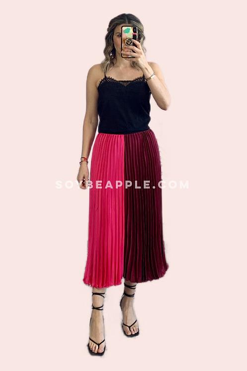 Falda midi plisada color block