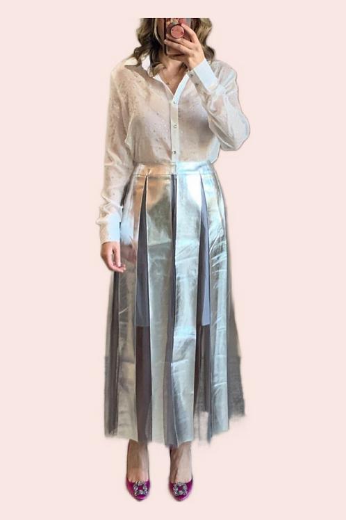 Falda midi transparencia