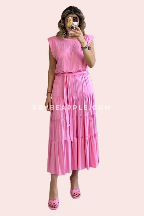 Vestido maxi hombreras rosa