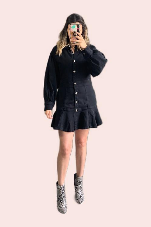 Vestido corto manga denim