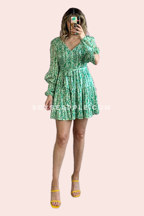 Vestido corto flores verde