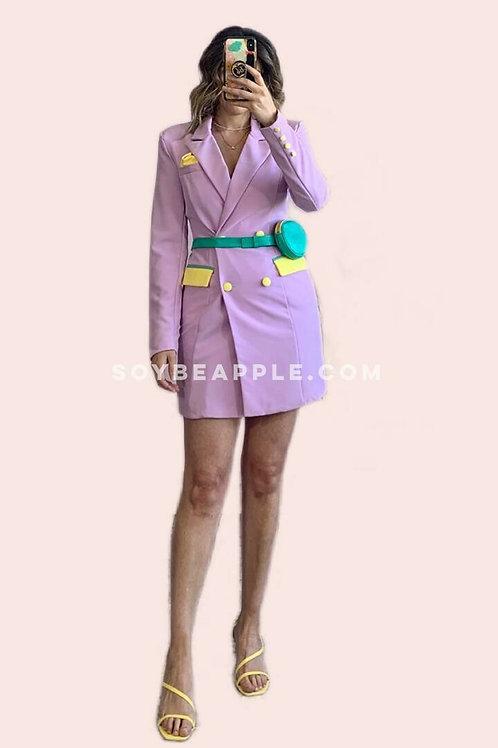 Vestido blazer color block