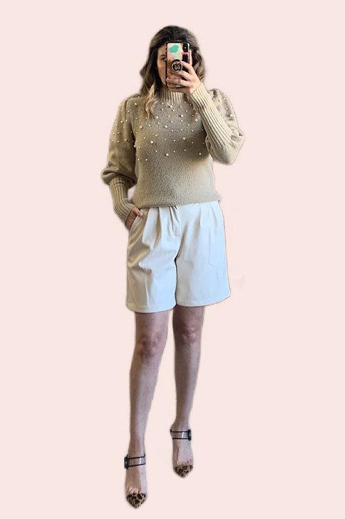 Sweater tejido con aplicación perlas
