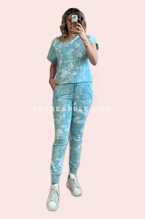Set pants sudadera y pantalón azul aqua