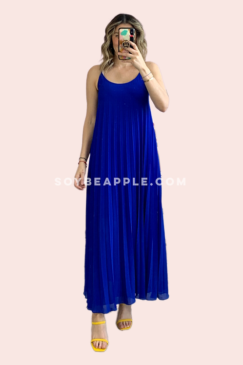 Vestido maxi tirantes plisado azul eléctrico