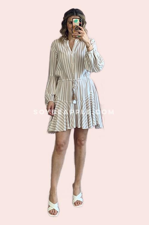 Vestido líneas beige