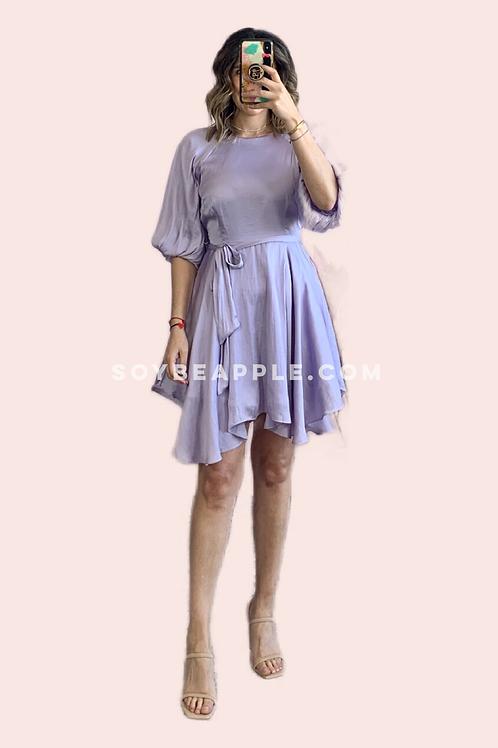 Vestido satín lila