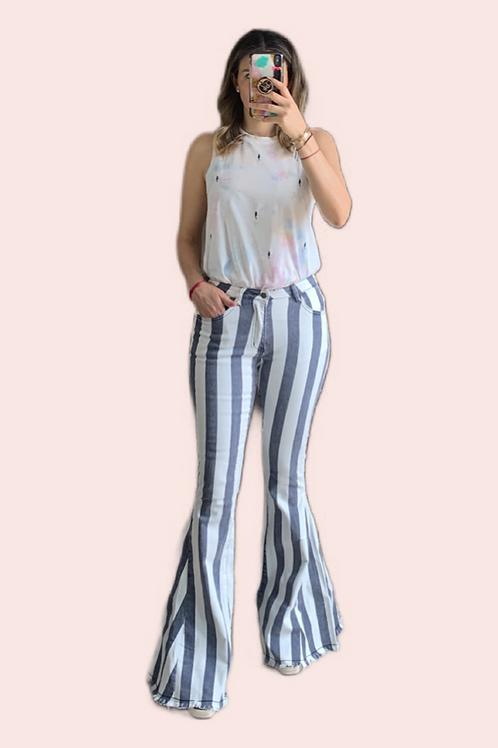 Jeans acampanados rayas gris