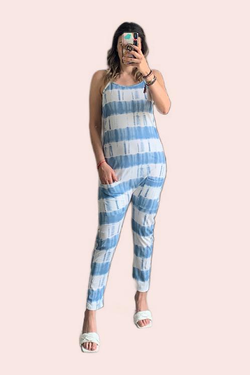 Jumpsuit con bolsas tie dye azul claro
