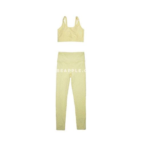 Set top y leggins textura animal print amarillo
