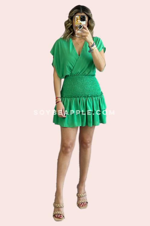 Vestido corto cuello V verde