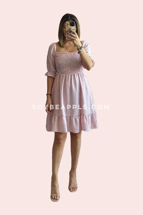Vestido corto cuadros rosa