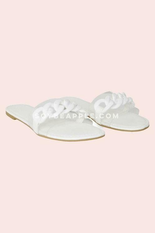 Sandalia con vinil blanco