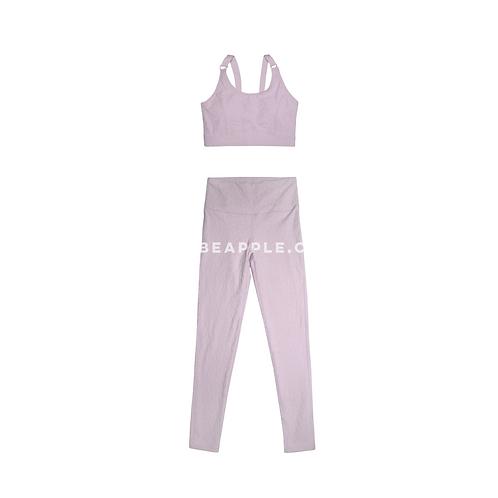 Set top y leggins textura animal print lila