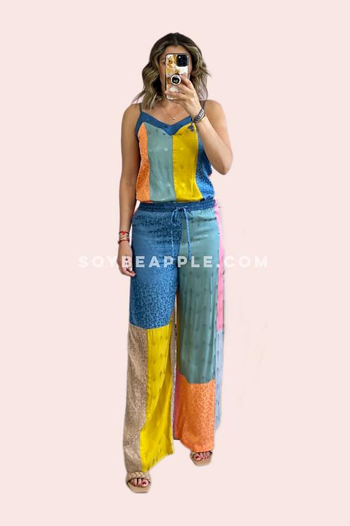 Set blusa tirantes y pantalón colores