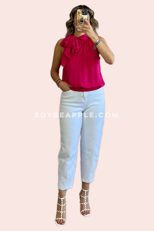 Blusa halter sin mangas rosa
