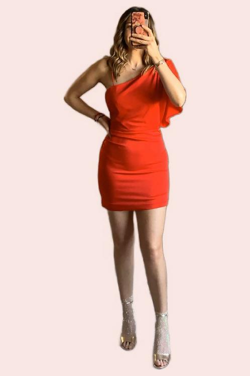 Vestido corto one shoulder