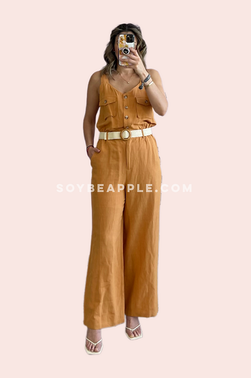 Jumpsuit tipo lino rust