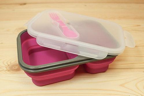 Ланчбокс складной 2 отдела фиолетовый контейнер для еды силиконовый