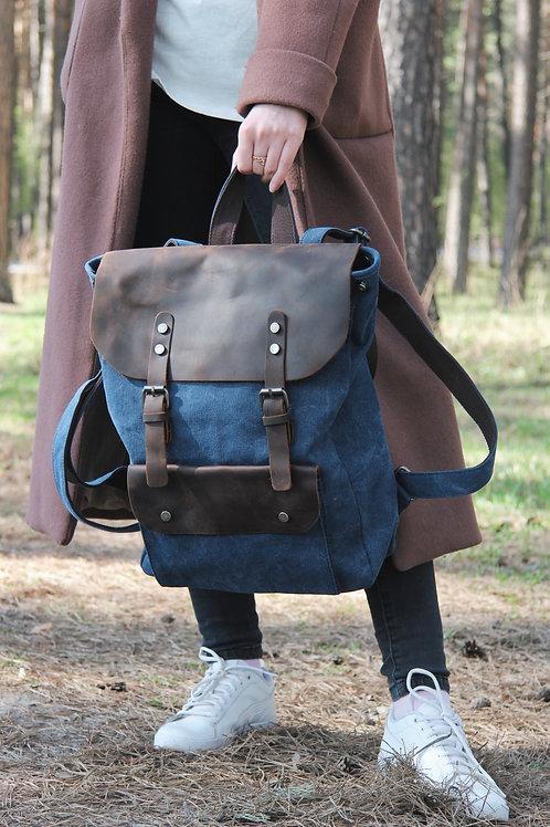 рюкзак крафтовый синий