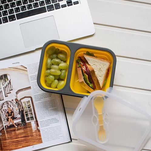 Ланчбокс складной 2 отдела желтый силиконовый контейнер для еды