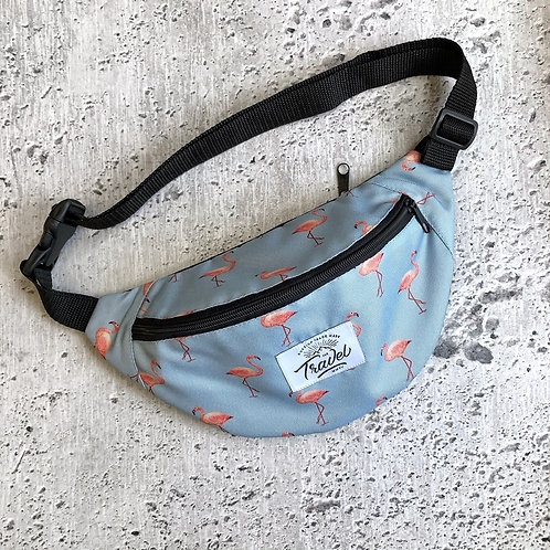 Поясная сумка TRAVEL Фламинго голубая