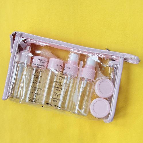 бутылочки в поездку для косметических средств отпуск ручная кладь розовые
