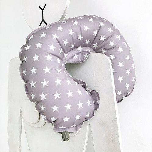 Дорожная подушка надувная серая