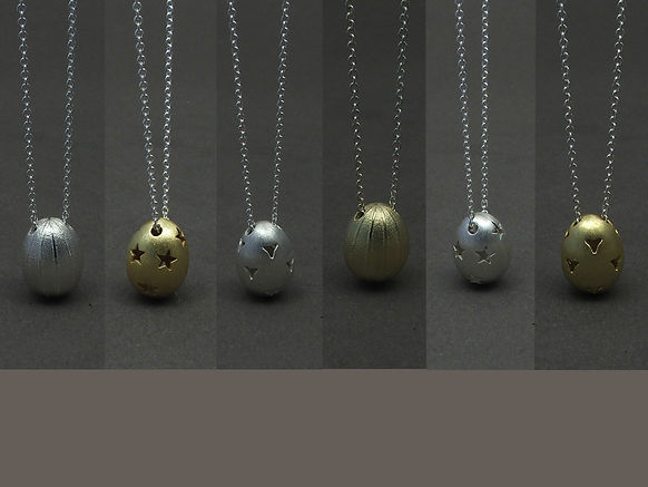 Easter silver eggs necklaces