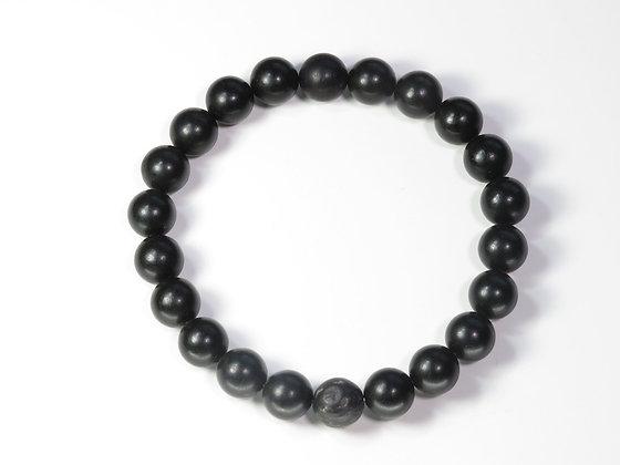 琥珀ブレスレット:黒琥珀&ボグオーク(Lサイズ)L1