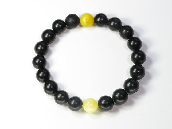 琥珀ブレスレット:黒琥珀&黄琥珀(Mサイズ)M6