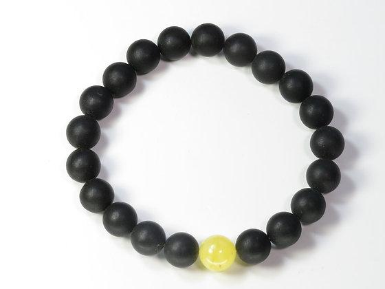 琥珀ブレスレット:黒琥珀&黄琥珀(Mサイズ)M4
