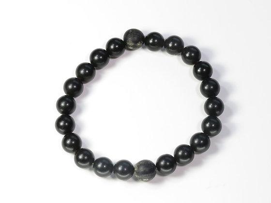 琥珀ブレスレット:黒琥珀&ボグオーク(Sサイズ)S1