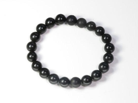 琥珀ブレスレット:黒琥珀&ボグオーク(Mサイズ)M5
