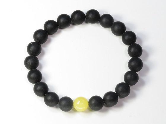 琥珀ブレスレット:黒琥珀&黄琥珀(Mサイズ)M5